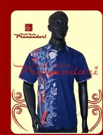 kemeja biru donker komb batik cirebon