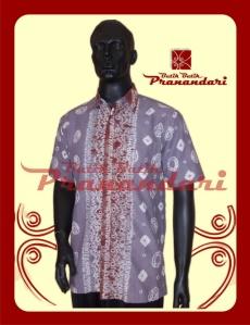 Produk Butik Batik Pranandari Bandung Kemeja Batik Jumputan Katun Cotton Abu PR302-KMJ